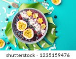 tasty appetizing smoothie acai...   Shutterstock . vector #1235159476