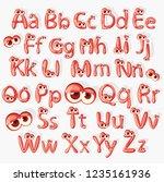 cartoon red alphabet with eyes  ...   Shutterstock . vector #1235161936