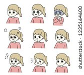 female facial expression set | Shutterstock . vector #1235164600