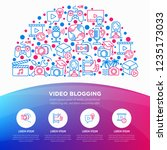 video blogging concept in half... | Shutterstock .eps vector #1235173033