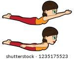illustration cartoon girl doing ... | Shutterstock .eps vector #1235175523