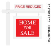 home for sale price reduced... | Shutterstock .eps vector #1235181523