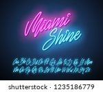 miami shine neon script... | Shutterstock .eps vector #1235186779
