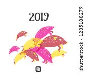 happy new 2019 chinese year of...   Shutterstock . vector #1235188279