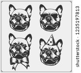 cute bulldog portrait with... | Shutterstock .eps vector #1235197813