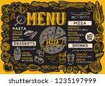 pizza menu template for... | Shutterstock .eps vector #1235197999