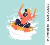 young man rides on a tubing in... | Shutterstock .eps vector #1235202313