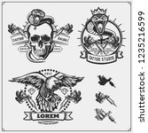 vector set of tattoo salon... | Shutterstock .eps vector #1235216599