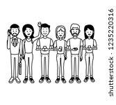 people with smartphones | Shutterstock .eps vector #1235220316