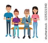 people with smartphones | Shutterstock .eps vector #1235221540