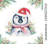 set of christmas woodland cute... | Shutterstock . vector #1235227213