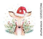 set of christmas woodland cute... | Shutterstock . vector #1235227246