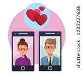 couple in love online | Shutterstock .eps vector #1235227636