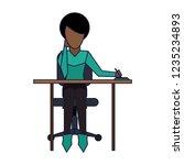 woman on desk   Shutterstock .eps vector #1235234893