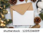 blank white christmas card... | Shutterstock . vector #1235236009