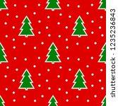 christmas trees on red... | Shutterstock .eps vector #1235236843