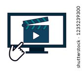 computer screen with video and... | Shutterstock .eps vector #1235239300