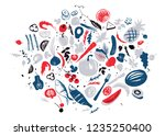 set of food objects  sea food ... | Shutterstock .eps vector #1235250400
