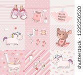 set of elements for baby shower ... | Shutterstock .eps vector #1235250520