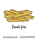 fried potatoes.  hand drawn... | Shutterstock .eps vector #1235259949