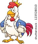 cartoon king chicken. vector... | Shutterstock .eps vector #123528010