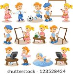 children are engaged in the... | Shutterstock .eps vector #123528424