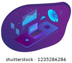 coworking  working on a laptop  ... | Shutterstock . vector #1235286286