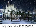 snow falling in milano  italy  | Shutterstock . vector #1235290996