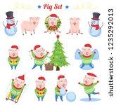 pig set. new year 2019  a set... | Shutterstock .eps vector #1235292013