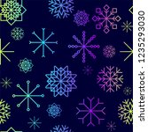 red and blue snow flakes... | Shutterstock .eps vector #1235293030