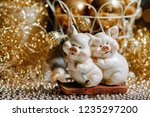 two cute pigs figure as a... | Shutterstock . vector #1235297200