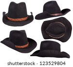 Cowboy Black Hats Isolated On...
