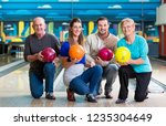 happy family with multi colored ... | Shutterstock . vector #1235304649