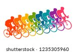 colorful poster with cyclists... | Shutterstock .eps vector #1235305960