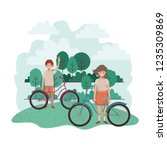 children with bicycle in... | Shutterstock .eps vector #1235309869