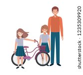 father and daughters with... | Shutterstock .eps vector #1235309920