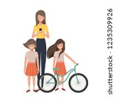 mother and daughters with... | Shutterstock .eps vector #1235309926