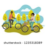 young men practicing sports... | Shutterstock .eps vector #1235318389