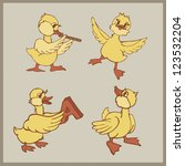 Set Of Funny Ducklings Vector...