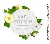 cotton flower realistic round... | Shutterstock .eps vector #1235323456