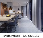 large dining room with kitchen  ... | Shutterstock . vector #1235328619