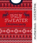 ugly sweater christmas party... | Shutterstock .eps vector #1235329546