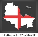 wigan city map with english... | Shutterstock .eps vector #1235339680