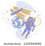 astronaut flying in open space... | Shutterstock .eps vector #1235344090