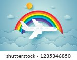 airplane flying in the sky with ... | Shutterstock .eps vector #1235346850