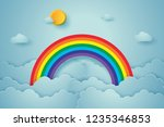 blue sky with rainbow and cloud ... | Shutterstock .eps vector #1235346853