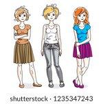 attractive young women standing ...   Shutterstock .eps vector #1235347243