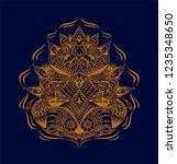indian drawing mandala. henna...   Shutterstock .eps vector #1235348650