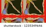 baroque red belt chain | Shutterstock . vector #1235349646
