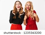 portrait of two cheerful young... | Shutterstock . vector #1235363200